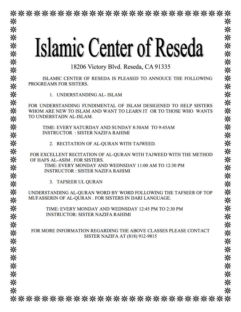 muslim singles in reseda New muslims new muslim support ranked mohammad (pbuh) as the single most influential person in the history of the world reseda, ca 91335-6434 phone (818.